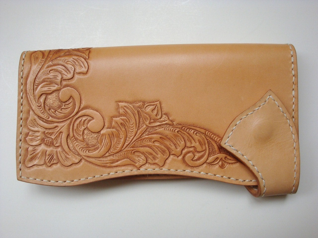 Aki leather wallet with bronze flower carving by zedstudio