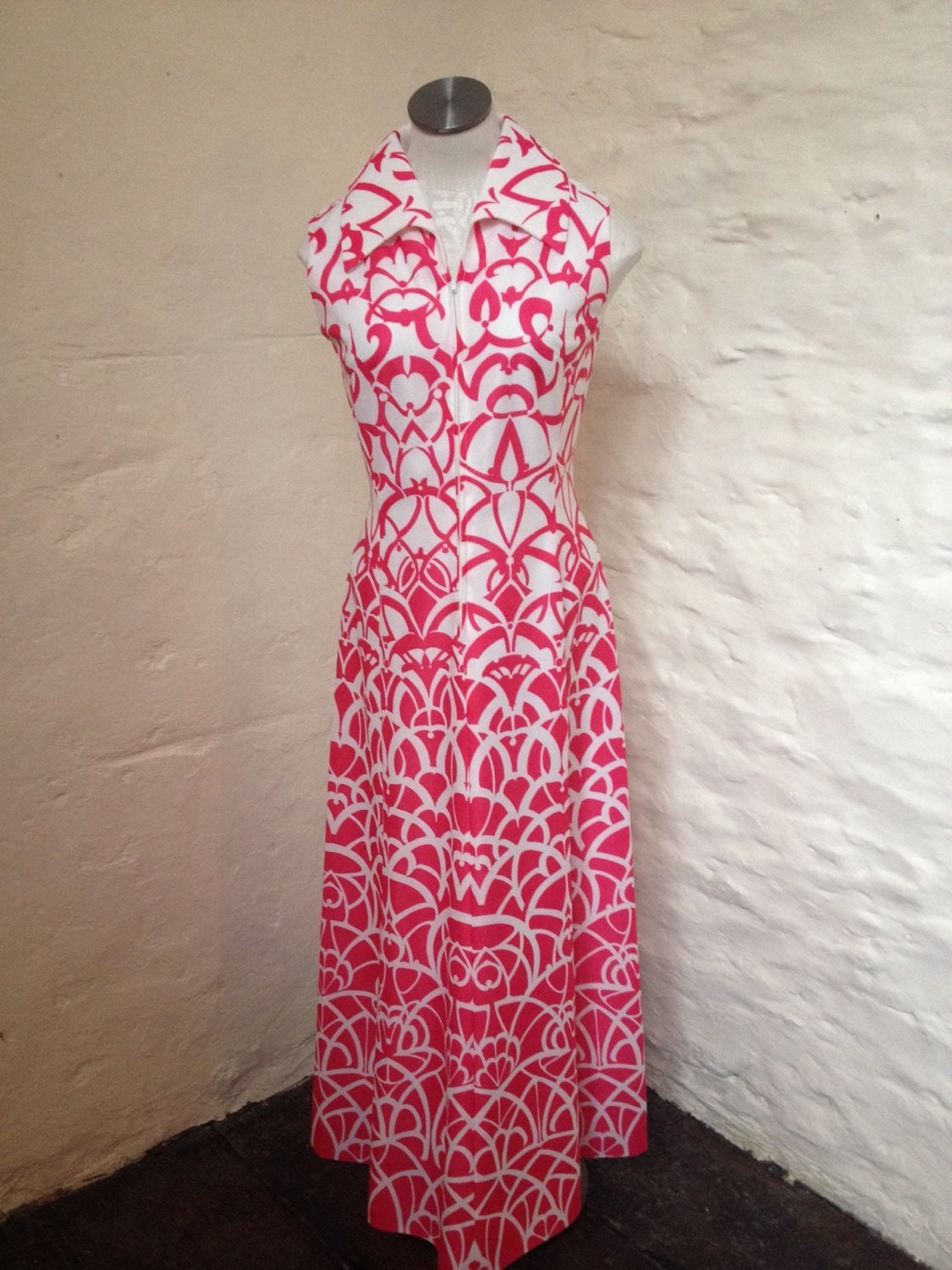 SALE was 35 Dress Vintage Ladies Pride Hot Pink and White Maxi Dress Size 10  12
