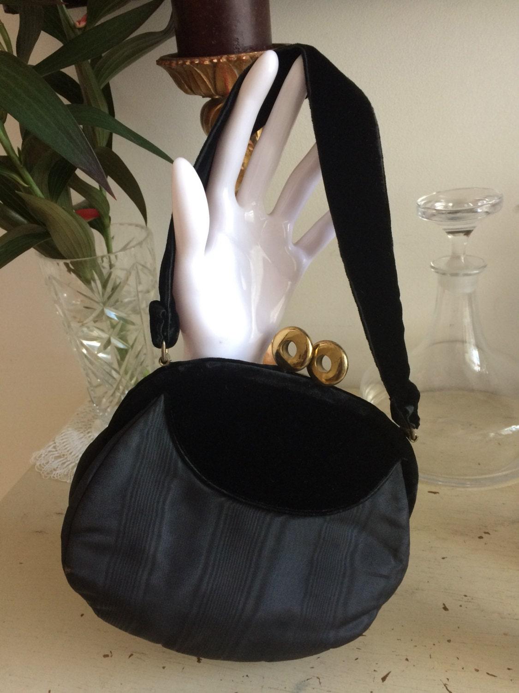 Vintage 1920s Handbag Purse Black Silk Grosgrain  Velvet Unique Clasp Exquisitely Hand Made