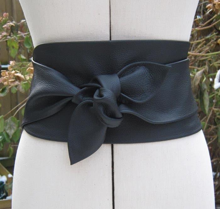 black leather wide petal wrap belt by elizabethkelly on etsy