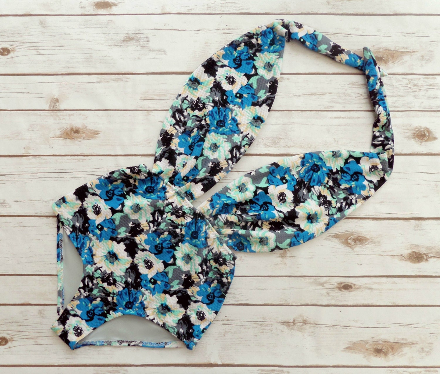 Swimsuit High Waisted Vintage Style One Piece Retro Pinup Maillot  Blue Mint Black And White Floral Print Backless Bathing Suit Swimwear
