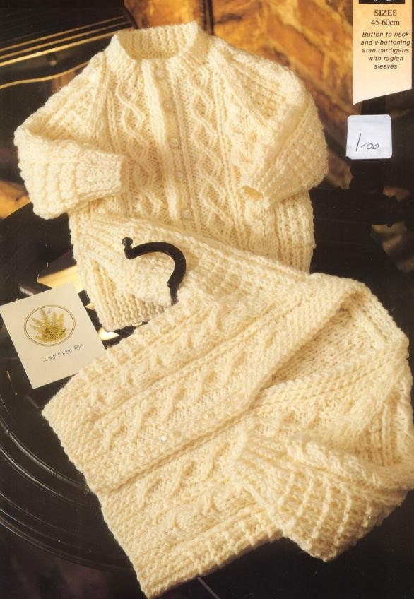 Knitting Pattern Baby Cardigan 8 Ply : Popular items for aran sweater on Etsy