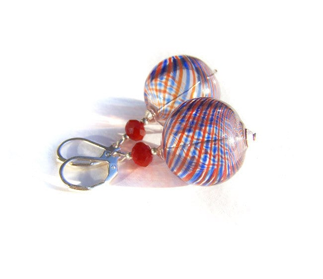 Venetian Murano Blown Glass Earrings, Hollow Red and Navy Earrings - IskraCreations