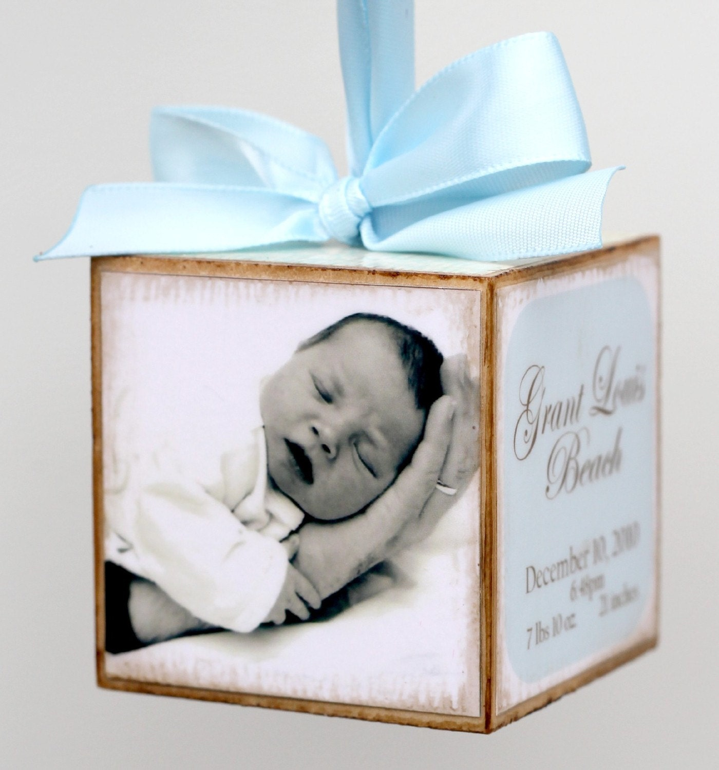 Baby Gift Announcement : Custom hanging photo birth announcement baby block by