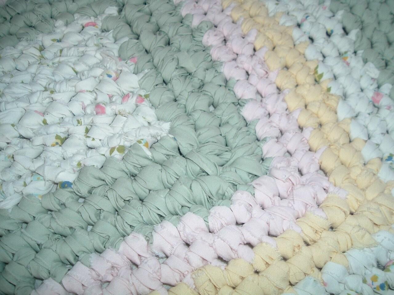 Crocheted rectangular shabby chic rag rug pinks by yarnsoffun