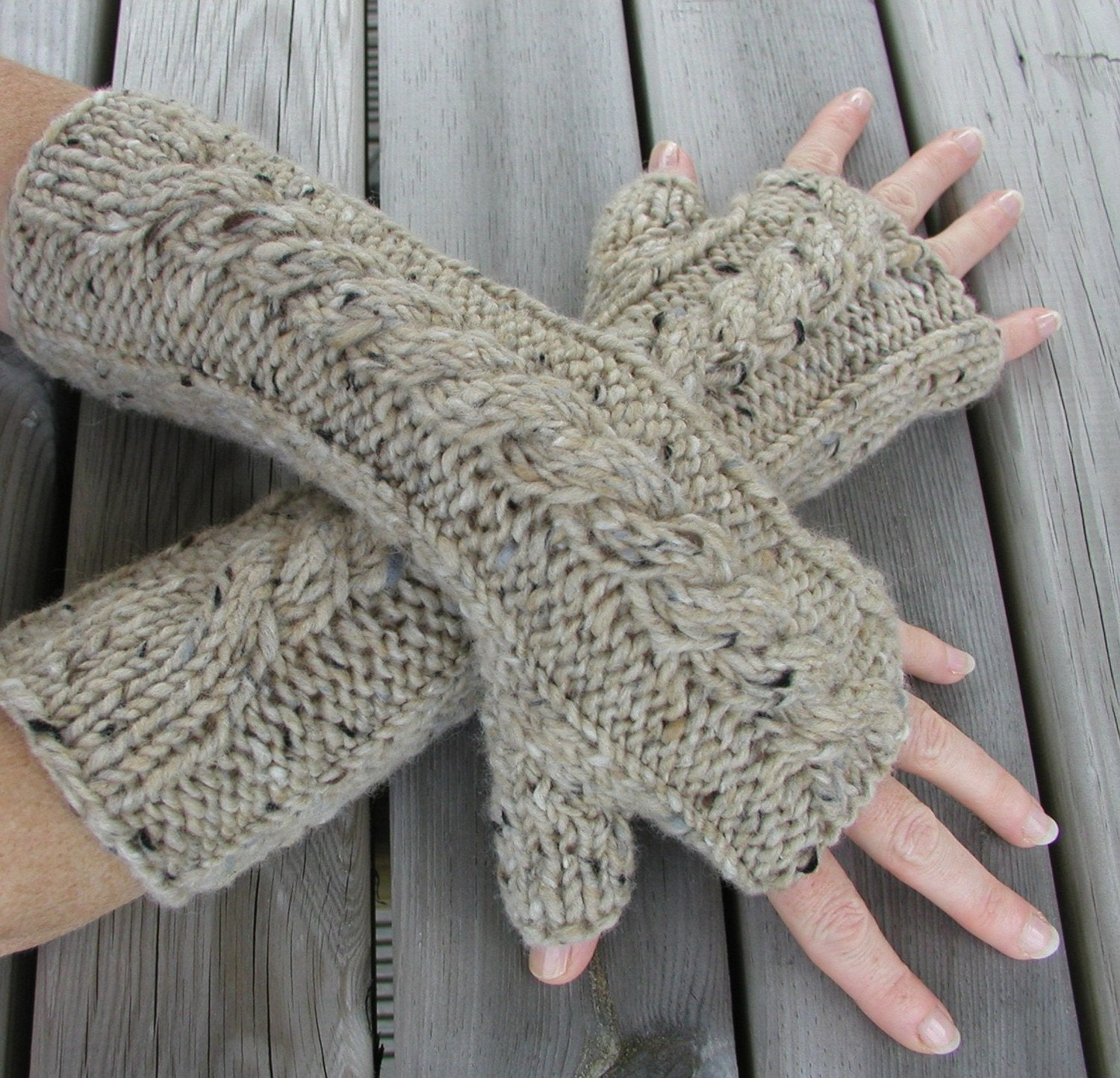 Hand Knitted Fingerless Gloves Arm Warmers in by handknittedthings