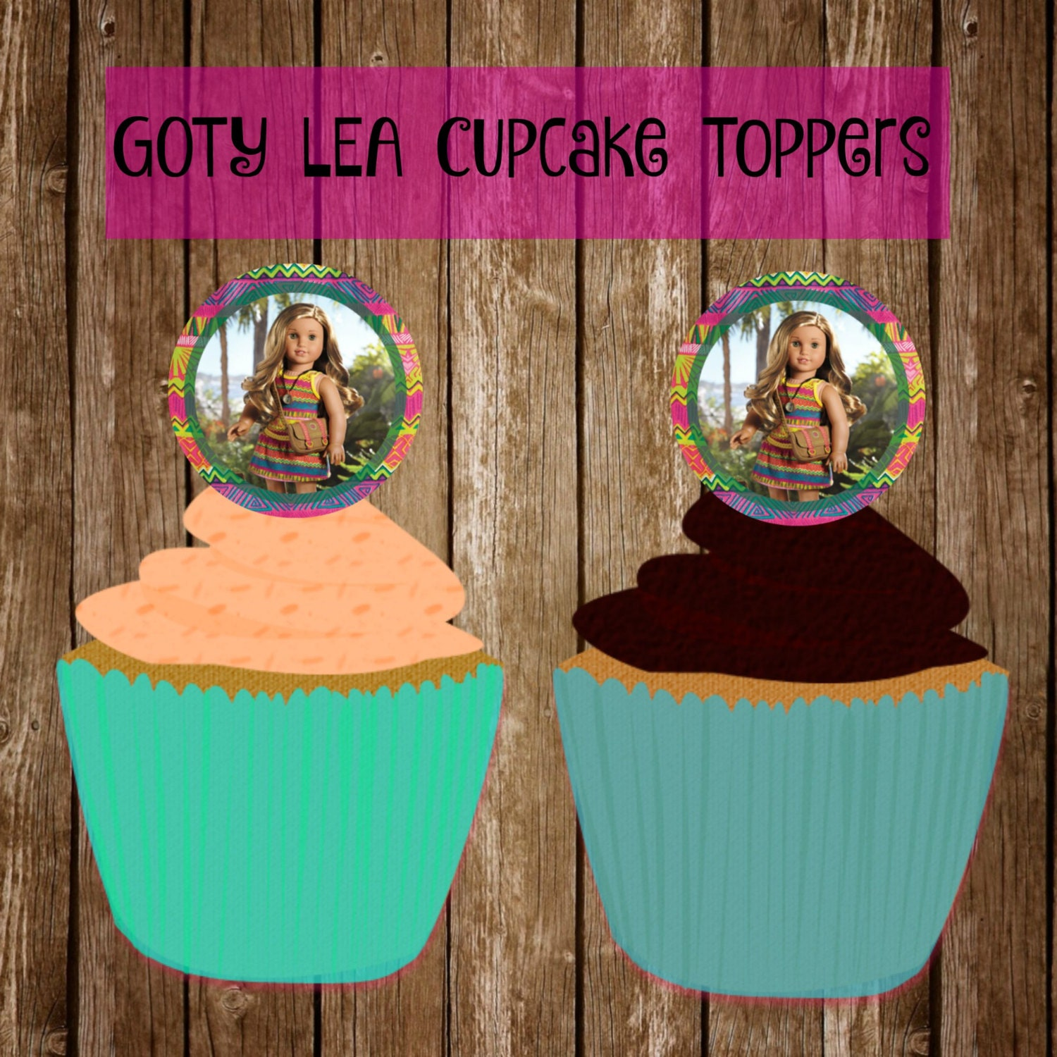 Lea Clark American Girl Doll Cupcake Toppers