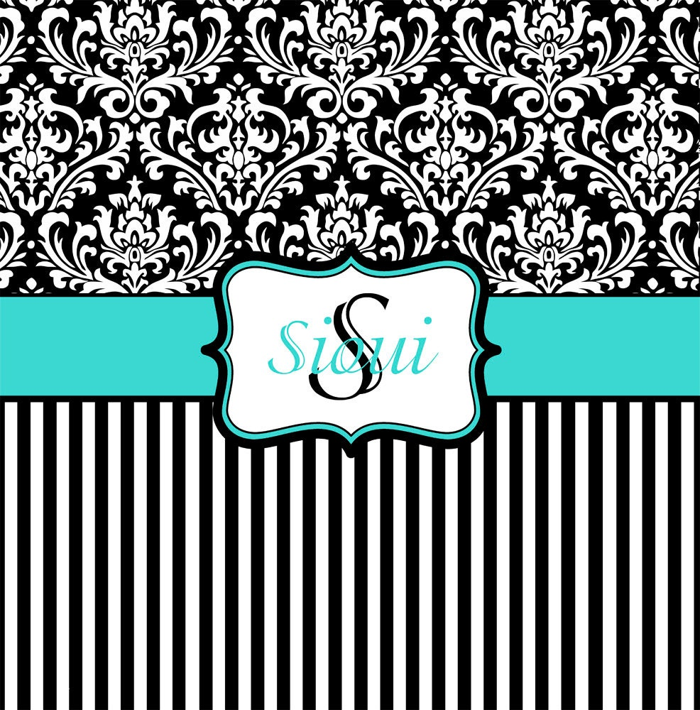 Tiffany blue black and white damask shower by pamperyourstyle