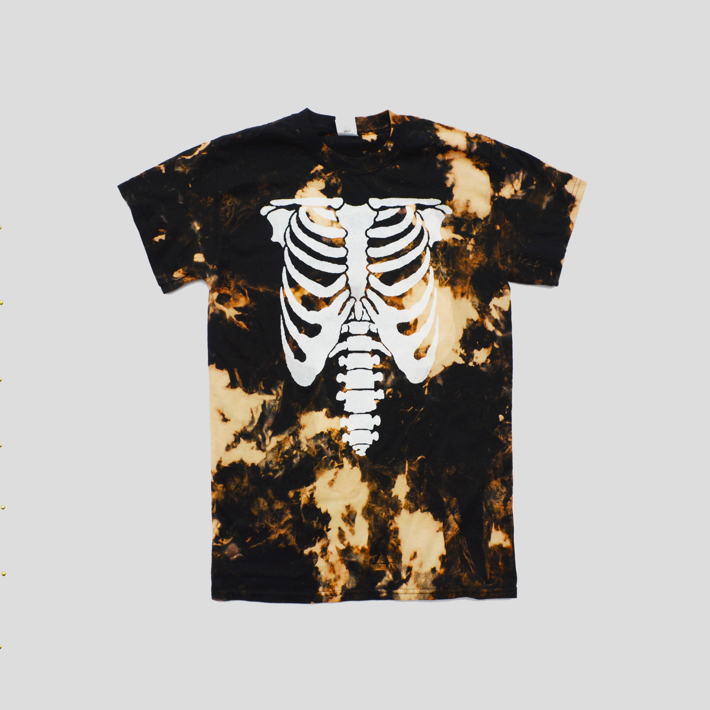 Acid Burned Gothic Skeleton Rib Cage Black Tshirt Alternative Goth Hipster Gothic Clothing Indie Satanic Hype Swag Men Women