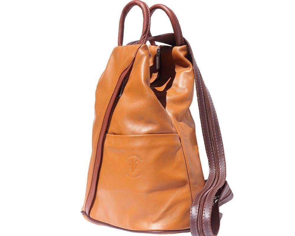 Italian Leather Backpack Shoulder Bag Handcrafted In Florence Italy in tan  brown 2061
