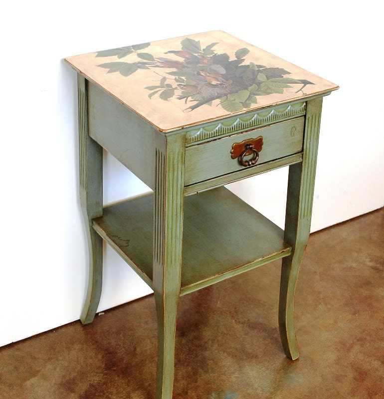 Painted vintage side table small table lamp table by envyalley for Retro end tables