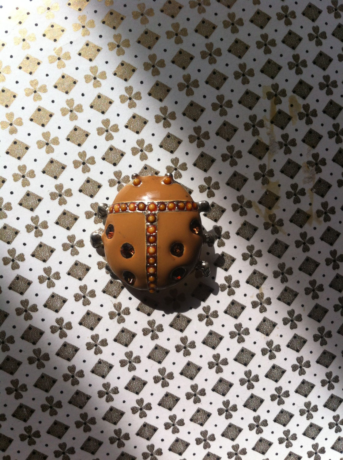 Vintage enamel cloisonne ladybird lady bug brooch pin antique vintage retro jewellery jewelry free postage
