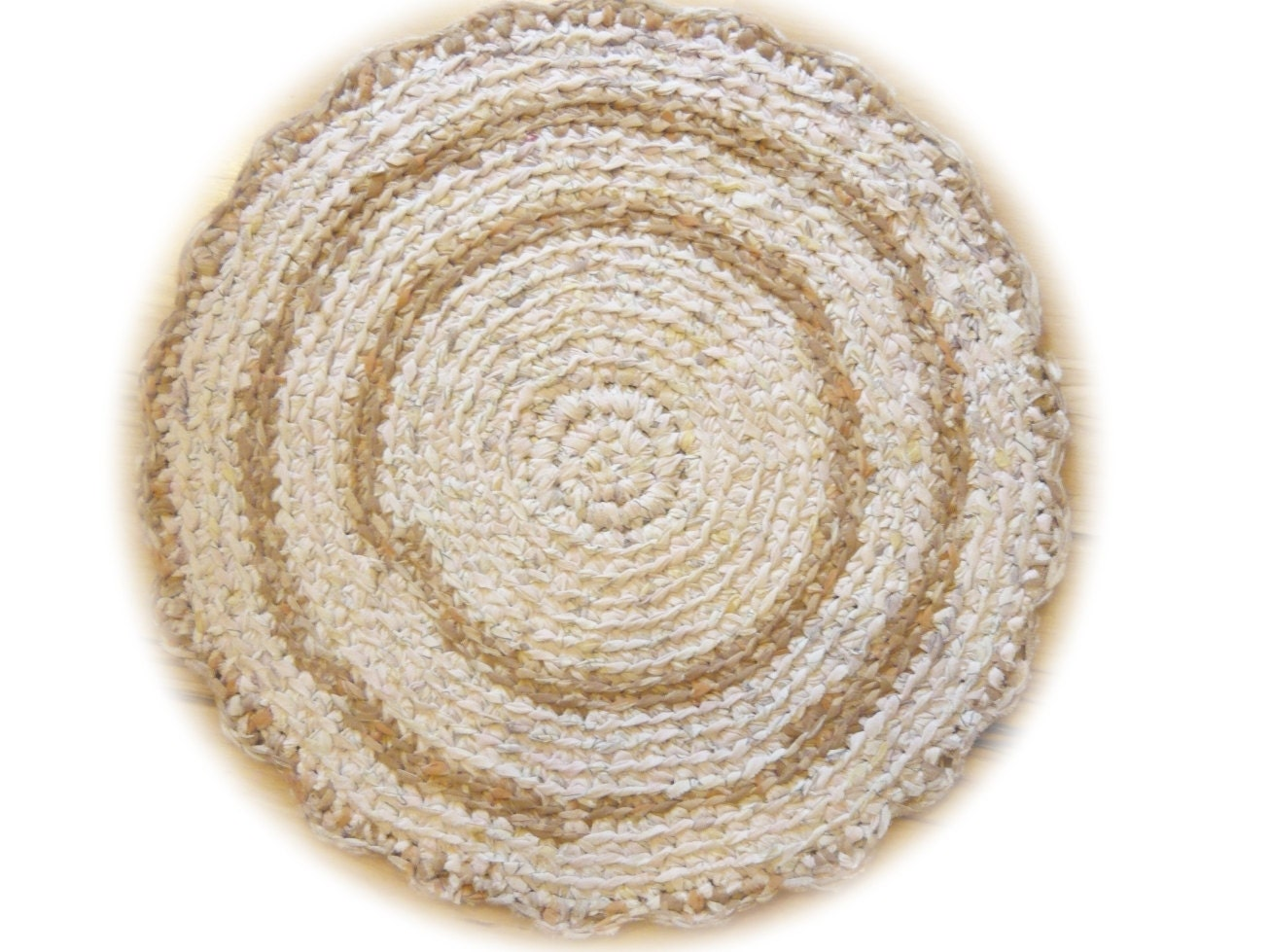 Crochet Round Rug Neutral Colors Bath Mat Ready By