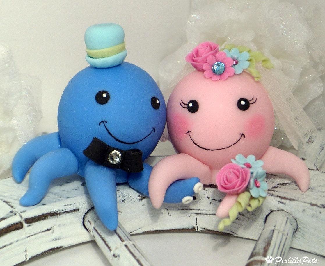 Octopus custom cake topper summer wedding by PerlillaPets ...