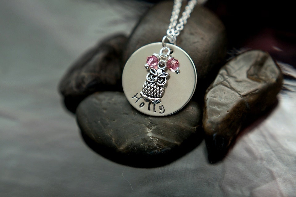 Personalized Child Necklace - Girls Name - Owl Necklace - Birthday Gift - DistinctlyIvy