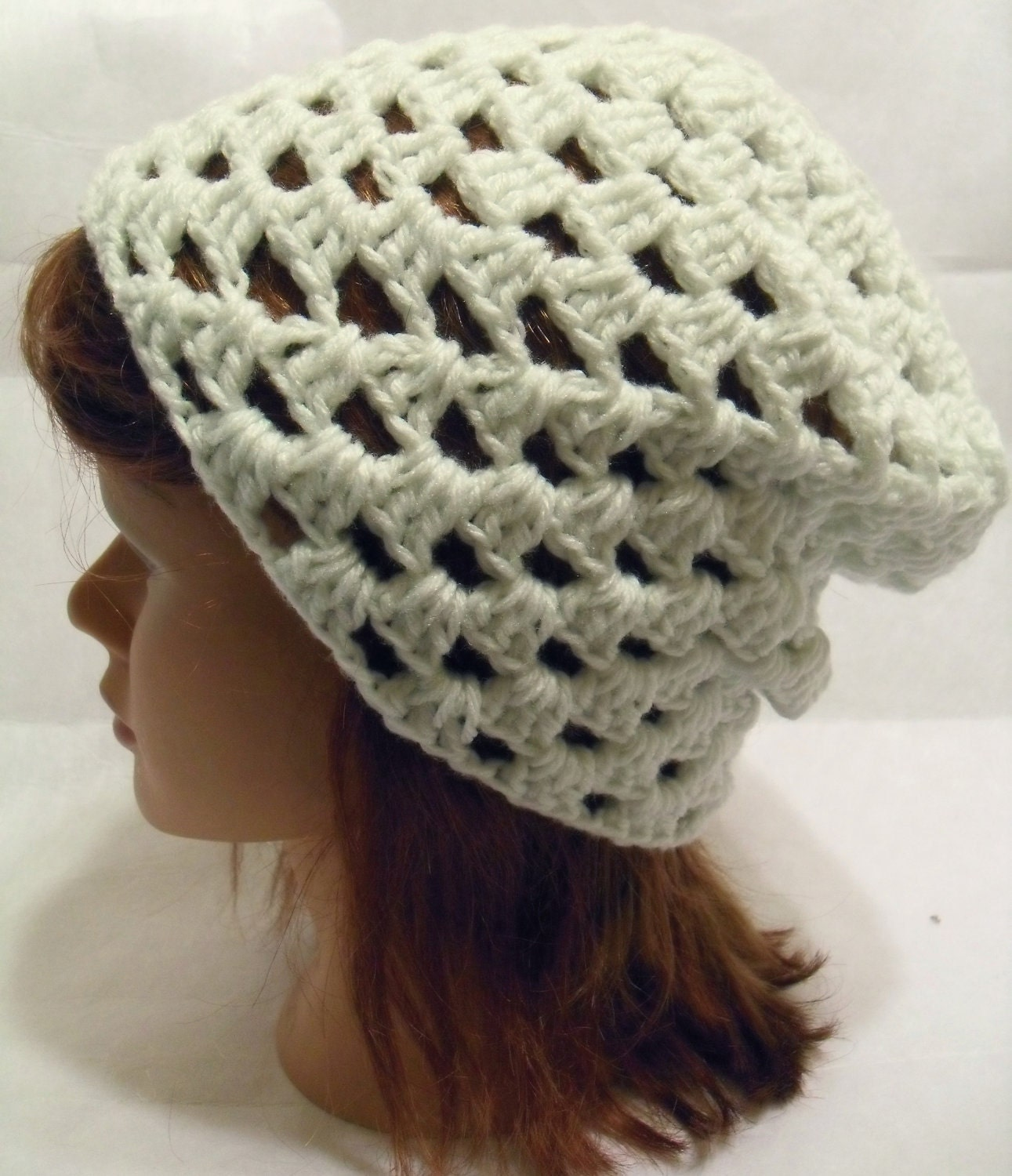Crochet Granny Square Beanie Pattern : Crochet Slouchy Beanie Hat Granny Square in Off by ...