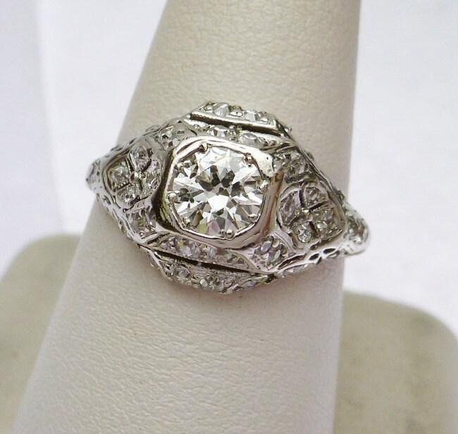 Platinum Antique Diamond Engagement Ring By KlinesJewelry On Etsy