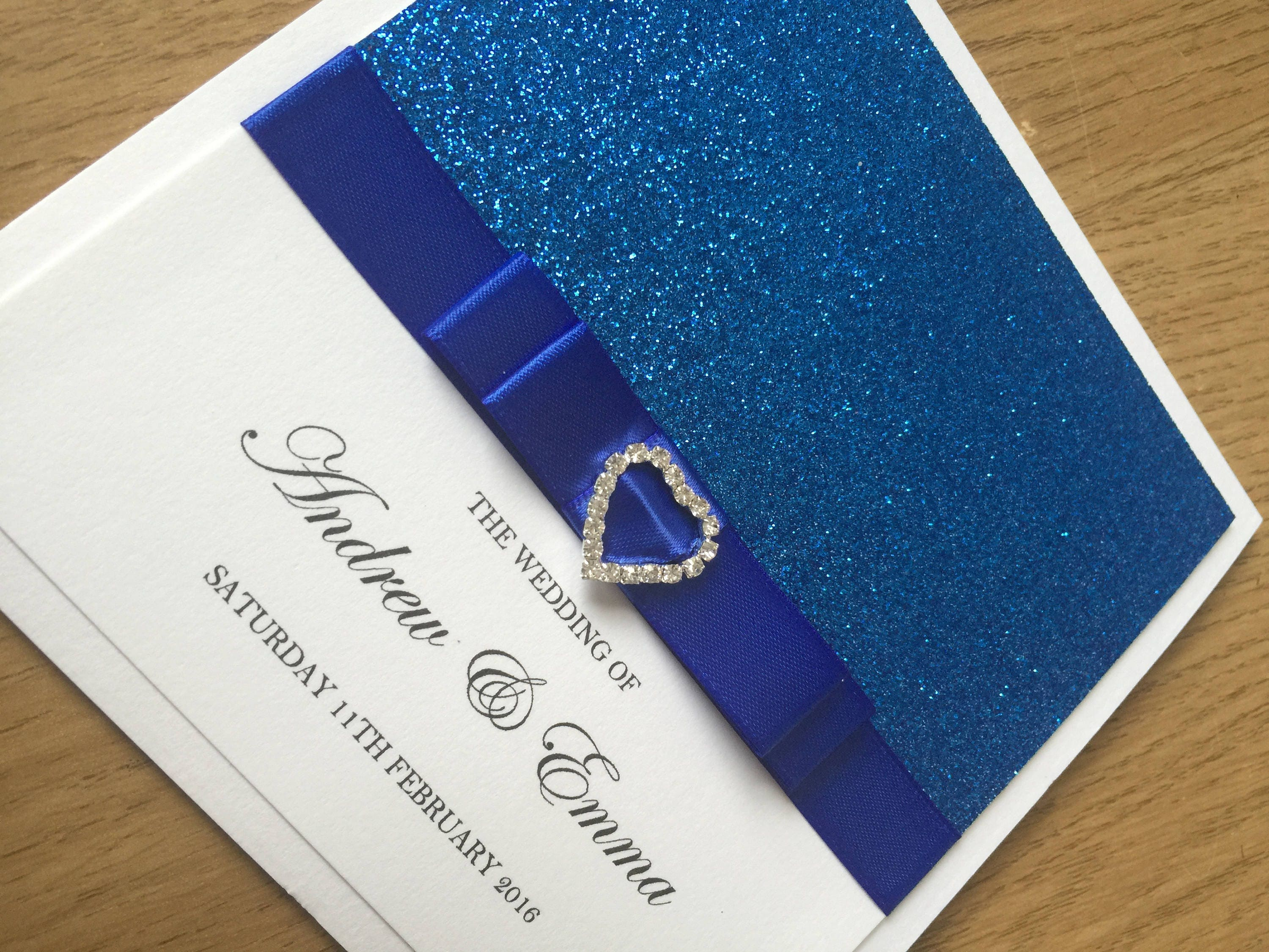 Royal Blue Glitter Wedding Invitation Pocket Wedding Invitation Diamante Heart Buckle Luxury Wedding Invitation GlamourSparkle