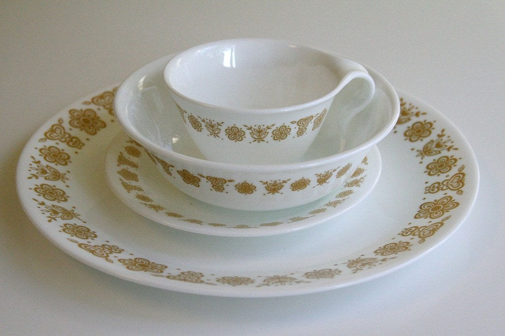70s Vintage Corelle Corningware Butterfly Gold 4 Pc By
