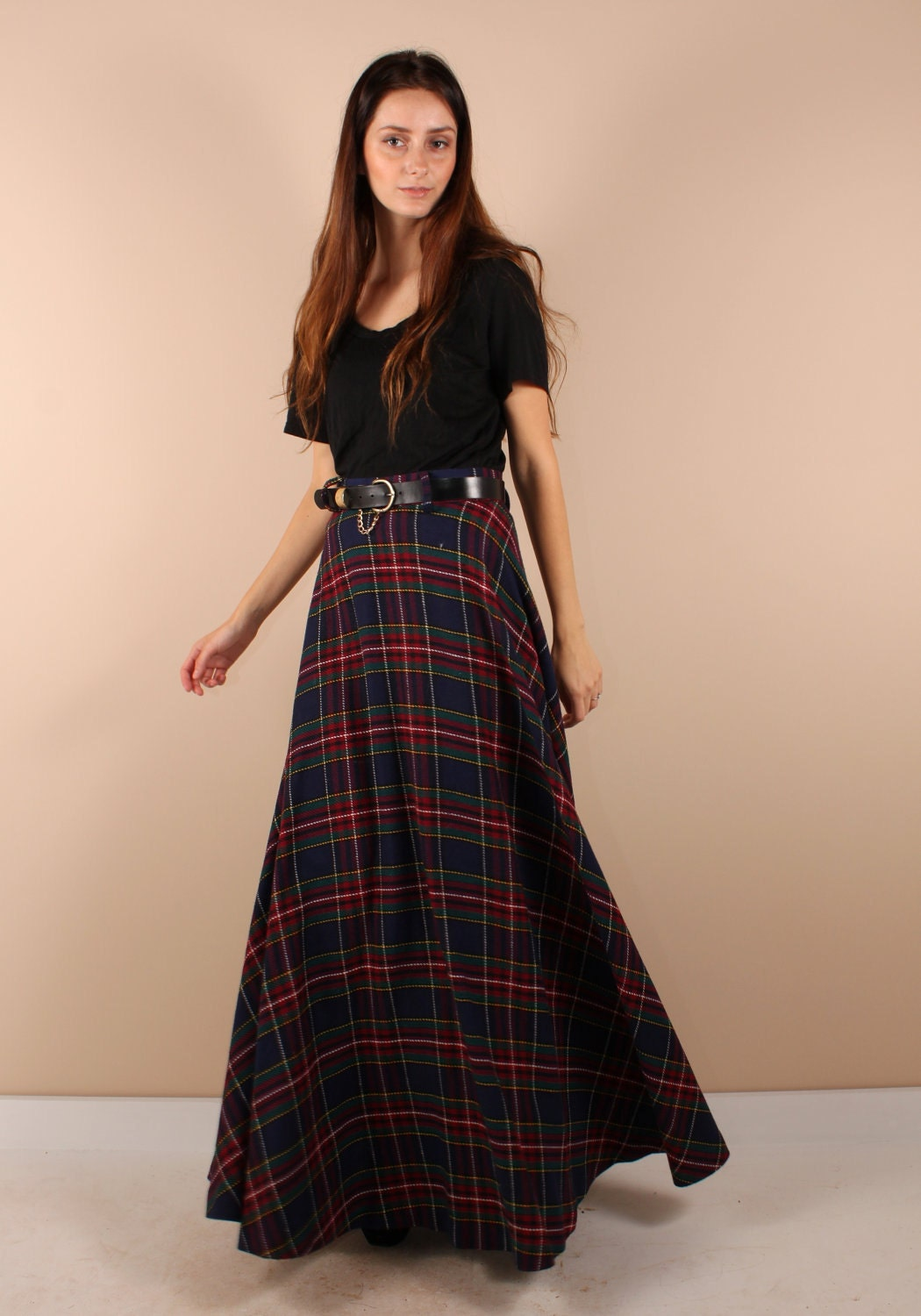 vintage 70s plaid maxi skirt and by