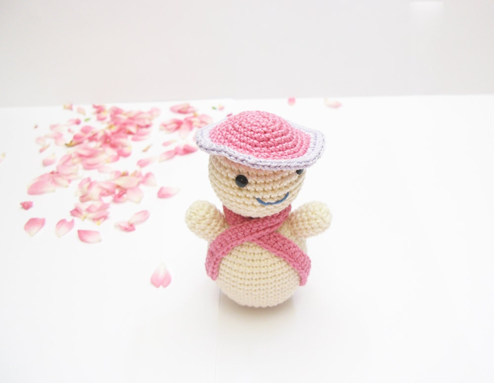 Crocheted Pink Snowgirl Christmas Toy on Etsy