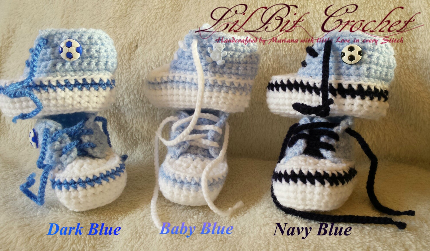 Hand Knitted  Crochet Baby Boy Trainers  HighTops  Booties  Shoes  Sneakers
