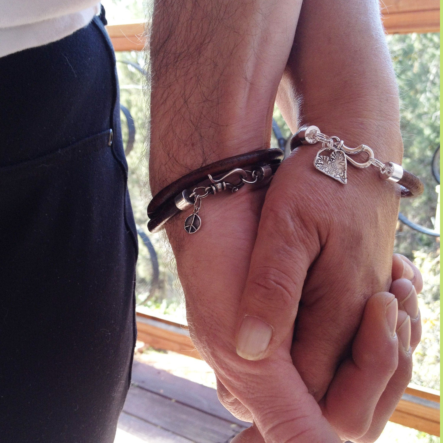 his and hers bracelets peace and love sterling silver