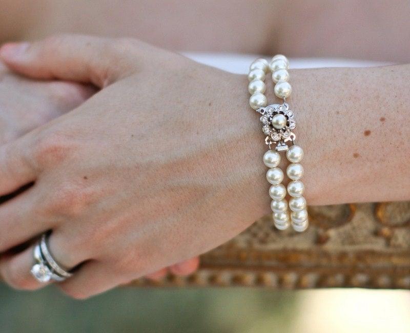 ESTELLE Ivory Swarovski Pearls with Rhinestone Clasp Bracelet