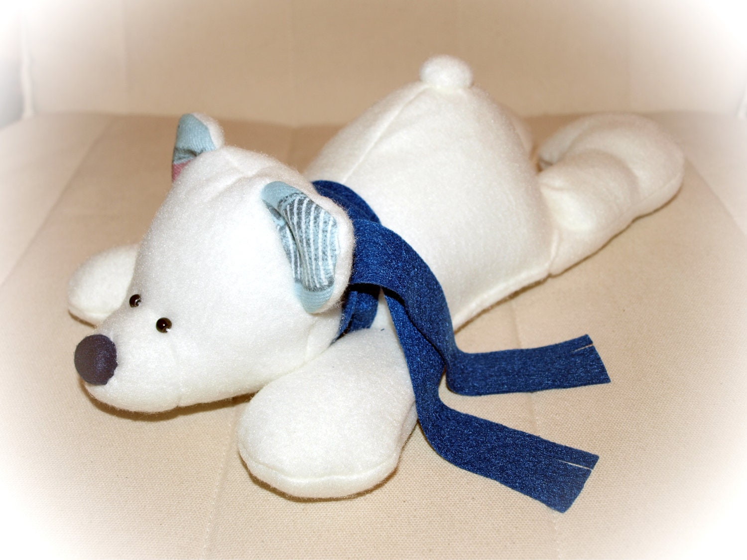 Soft stuffed polar bear,stuffed toy, christmas toy, plush bear, teddy bear toy, handmade - Fairybugcreative