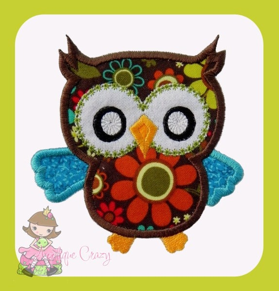 owl applique design by appliquecrazy on etsy