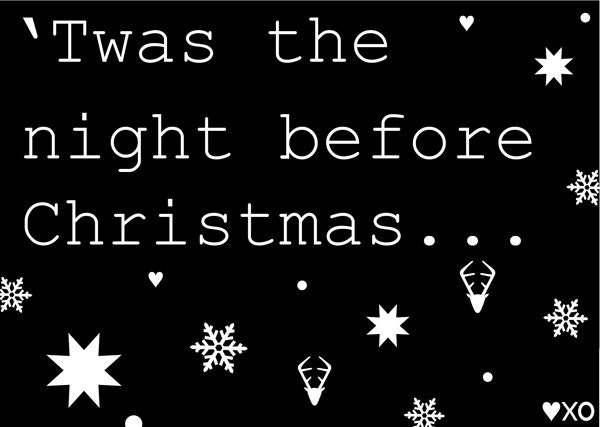 Twas the night before Christmas, A6 Black Christmas Card (Pack of 5) - HeartKissHug