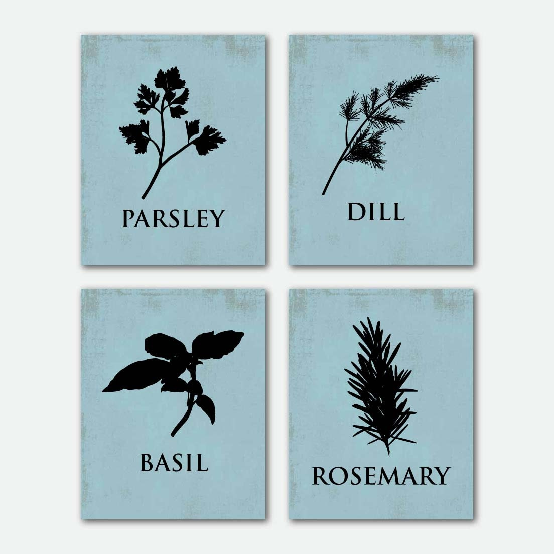 Kitchen Herbs - Kitchen Wall Art Quad - Set of Four 8 X 10 - Silhoettes - Room Decor on your choice of backround - SusanNewberryDesigns