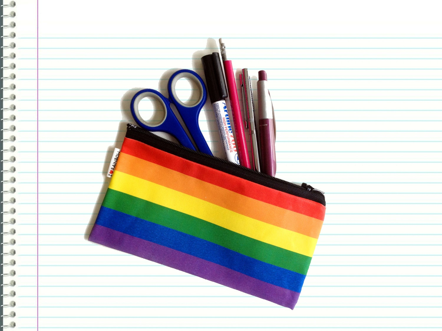 Back To School SALE - RAINBOW colors pencil case zipper pouch - with black zipper - colorful gift for him for her for teens for kids - efratul
