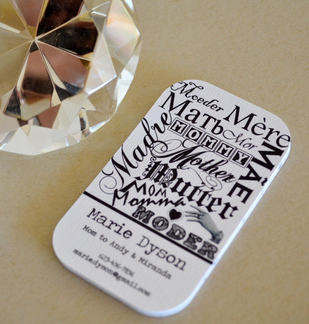 Unavailable listing on etsy for Mommy business cards
