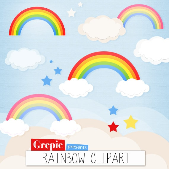 clipart rainbow with clouds - photo #37