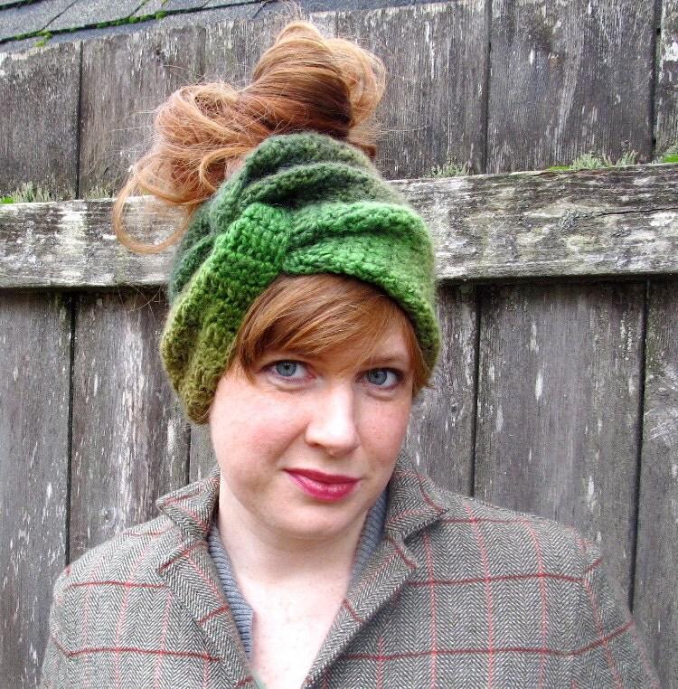 PDF Crochet Pattern convertible turban headband ear warmer