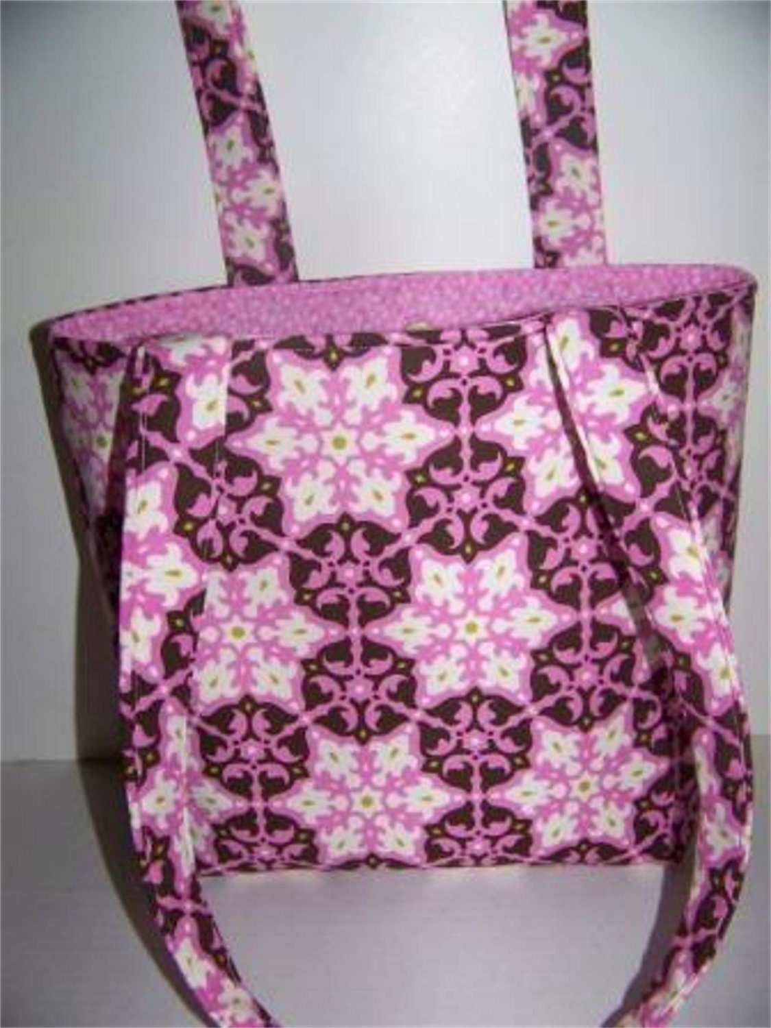 SALE    Brown and Pink Amy Butler Fabric Bag - BoKaBags