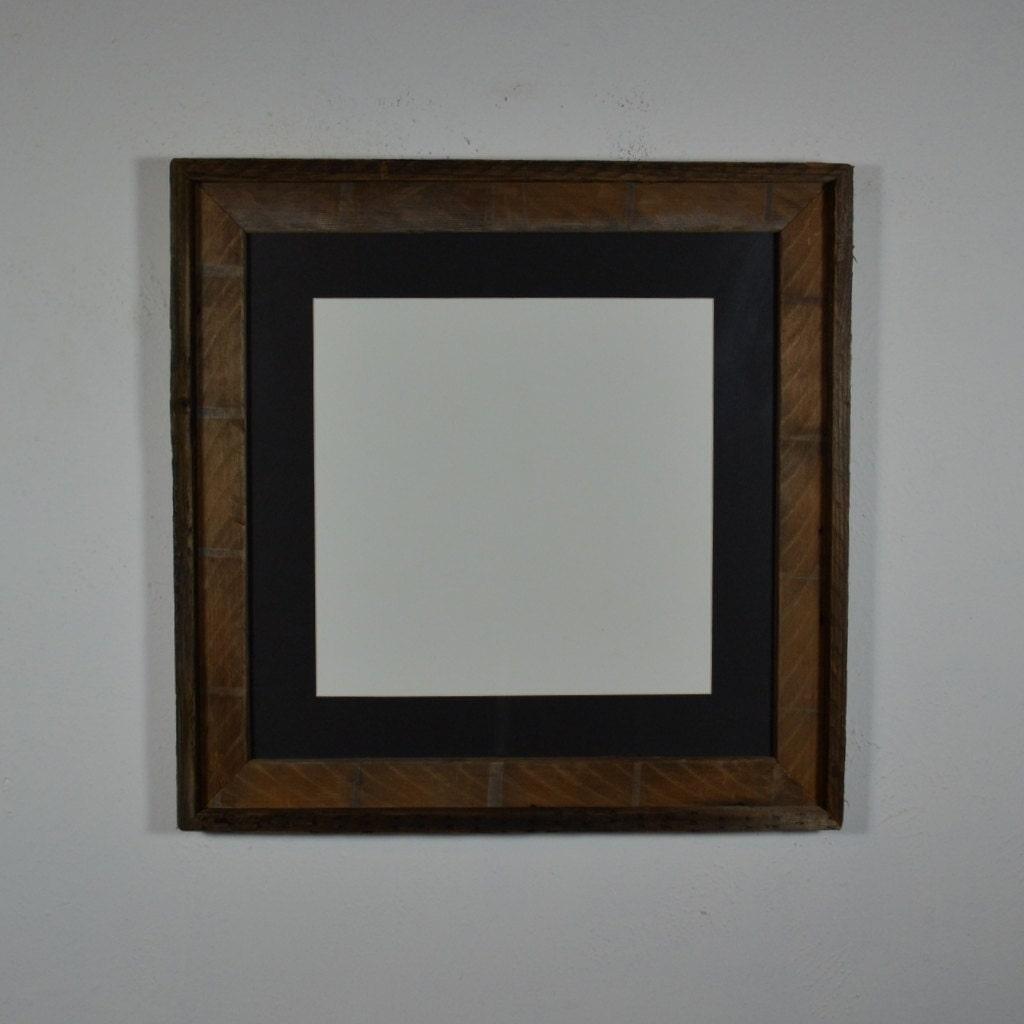 16x16 Barnwood Frame Brown With Black 12x12 Mat By Barnwood4u
