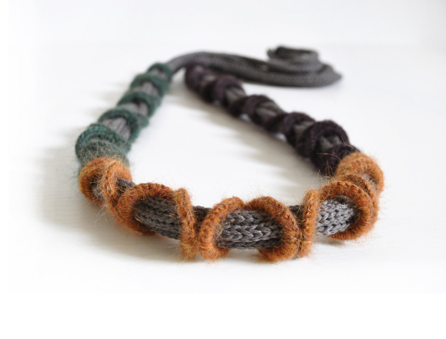 Knit cashmere fiber necklace / Textile necklace / Rustic chic jewelry / Modern fiber necklace / Fall fashion / Green brown mustard taupe - AliquidTextileJewels