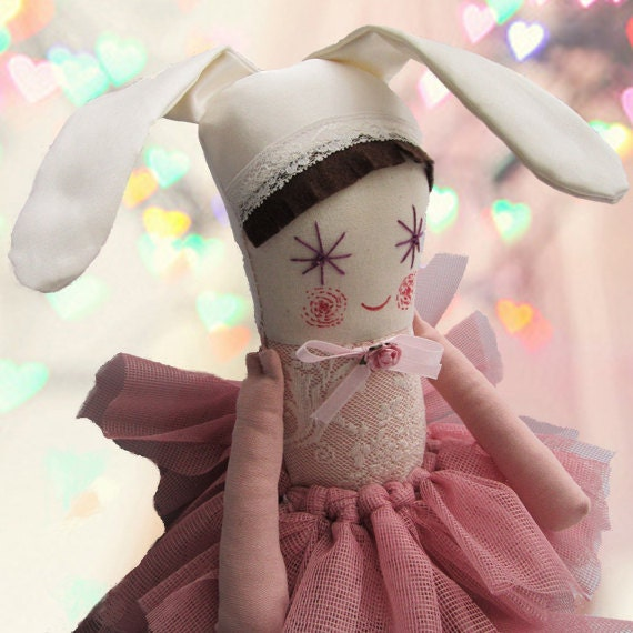 Spring Rabbit Soft Doll, Pink Bunny Girl, Ballerina Doll, Handmade Stuffed Doll for girl, Eco Toy, - thedollsunique