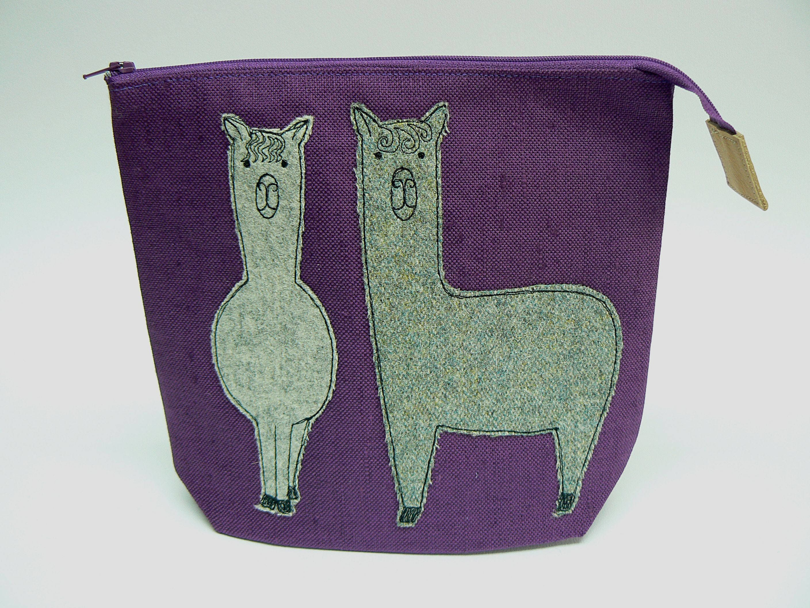 Tweedy Alpaca applique zipped pouch small project bag sock knitting bag