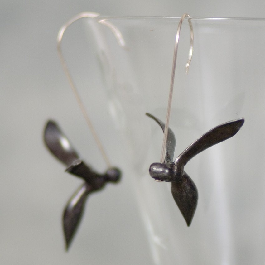 Winsome Wasp Earrings in Eco-Friendly Fine Silver - redsquirreldesign