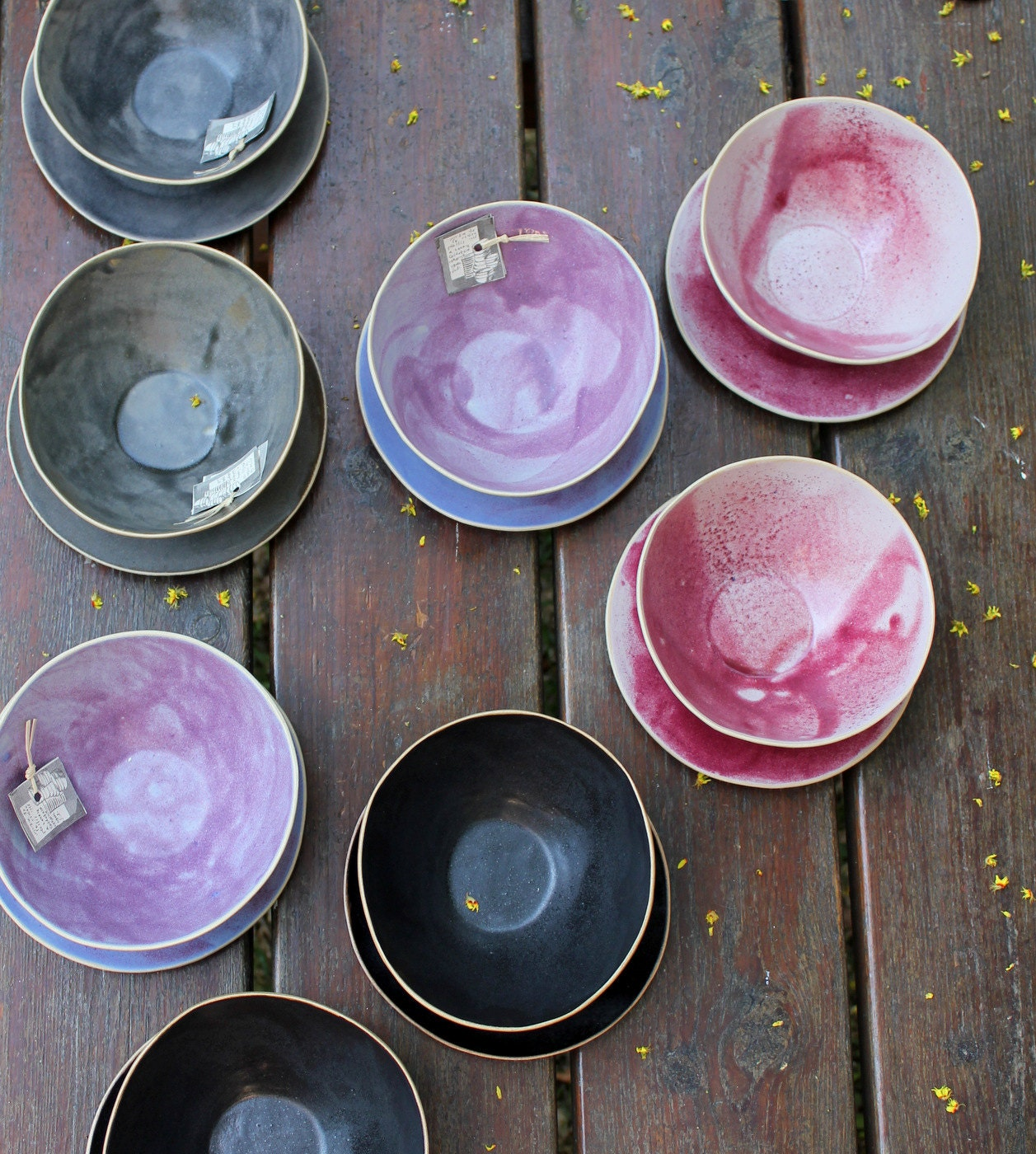 Lovely black, grey, pink and purple bowls for soup or cereal or ice cream - lauriegceramics