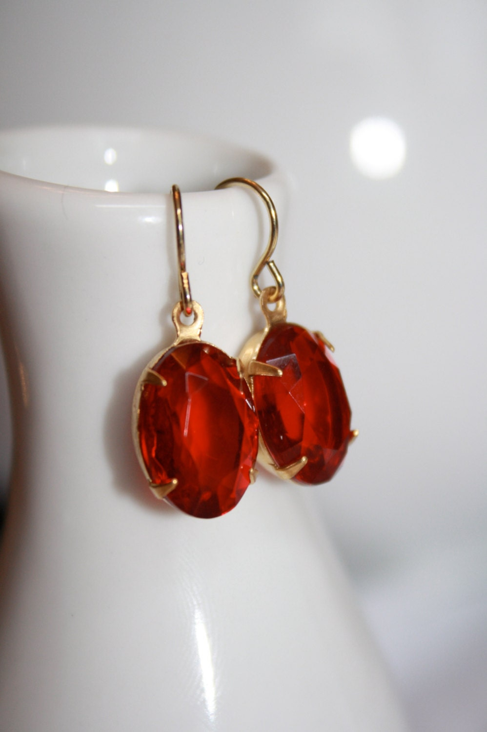 Red Glass Stone : Ruby red vintage glass stone dangle earrings by purabellezza