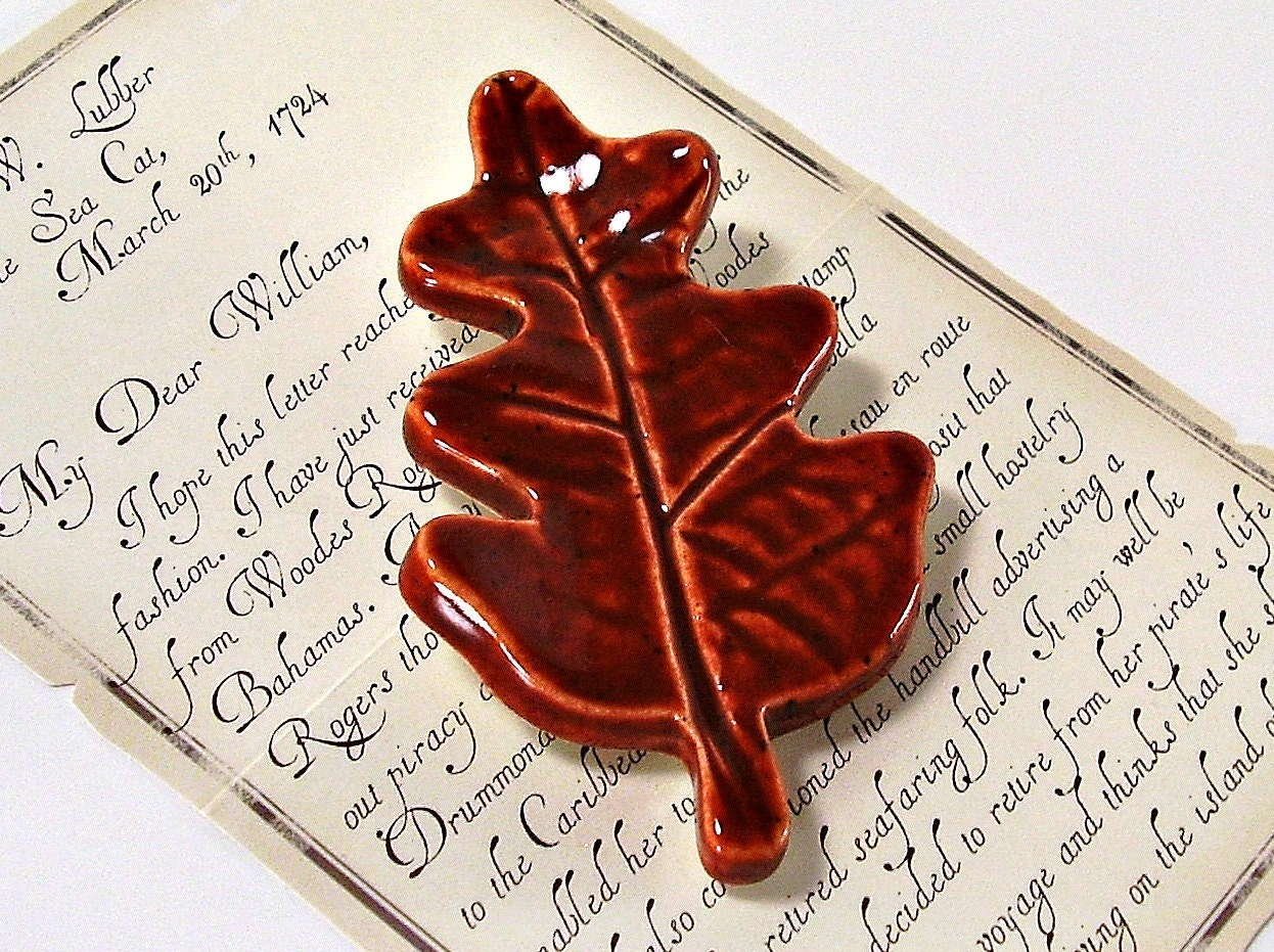 ceramic leaf magnet refrigerator memo board gift fall leaf burnt orange rust handmade pottery - Ravenhillpottery