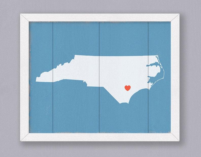North Carolina Wood Sign Rustic Home Decor By Thepaintedllama