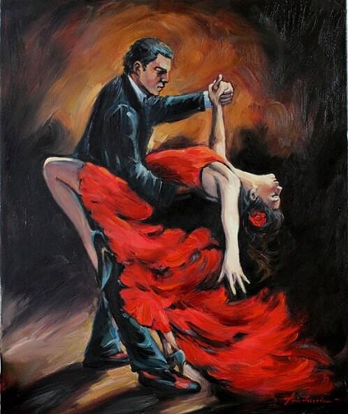 Spanish flamenco dancers original oil painting on by anastassiaart - Peinture danseuse de flamenco ...