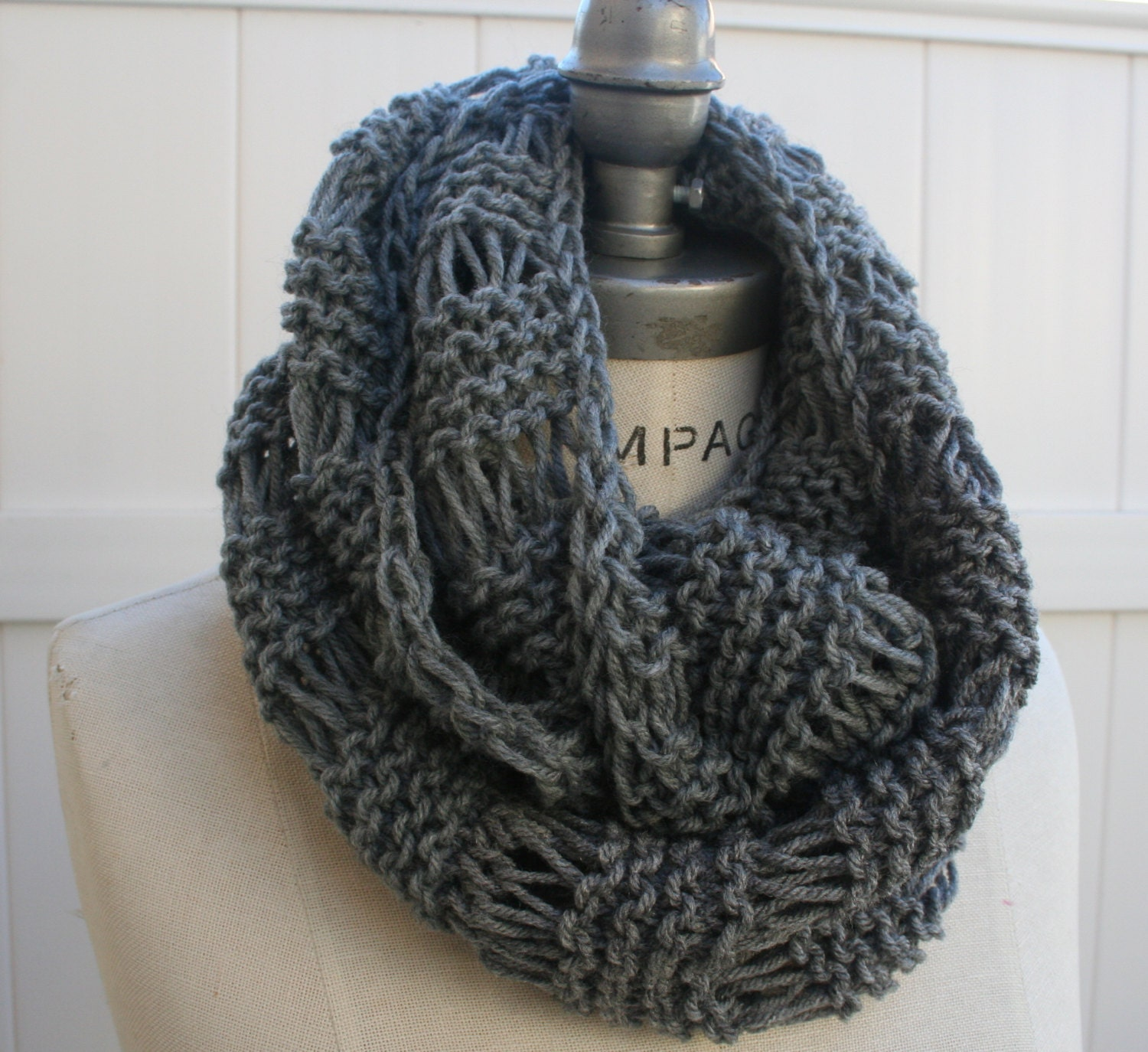 Knitting Items To Sell : Grey knit scarf best selling items hand infintiy by