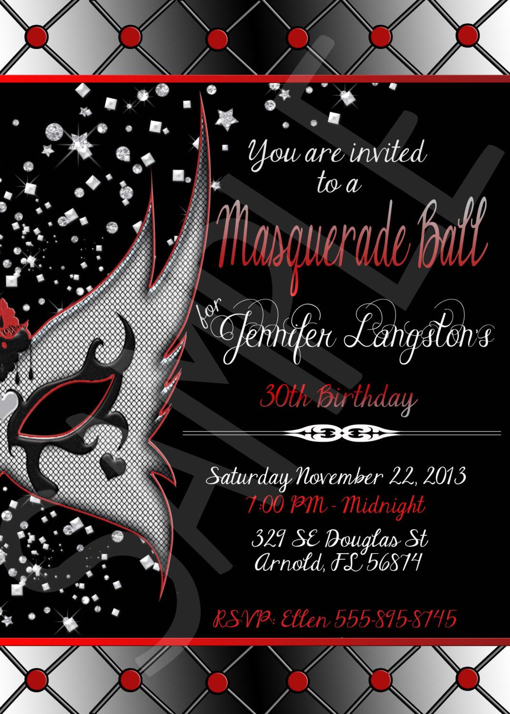Masquerade Ball Birthday Party Printable Invitation