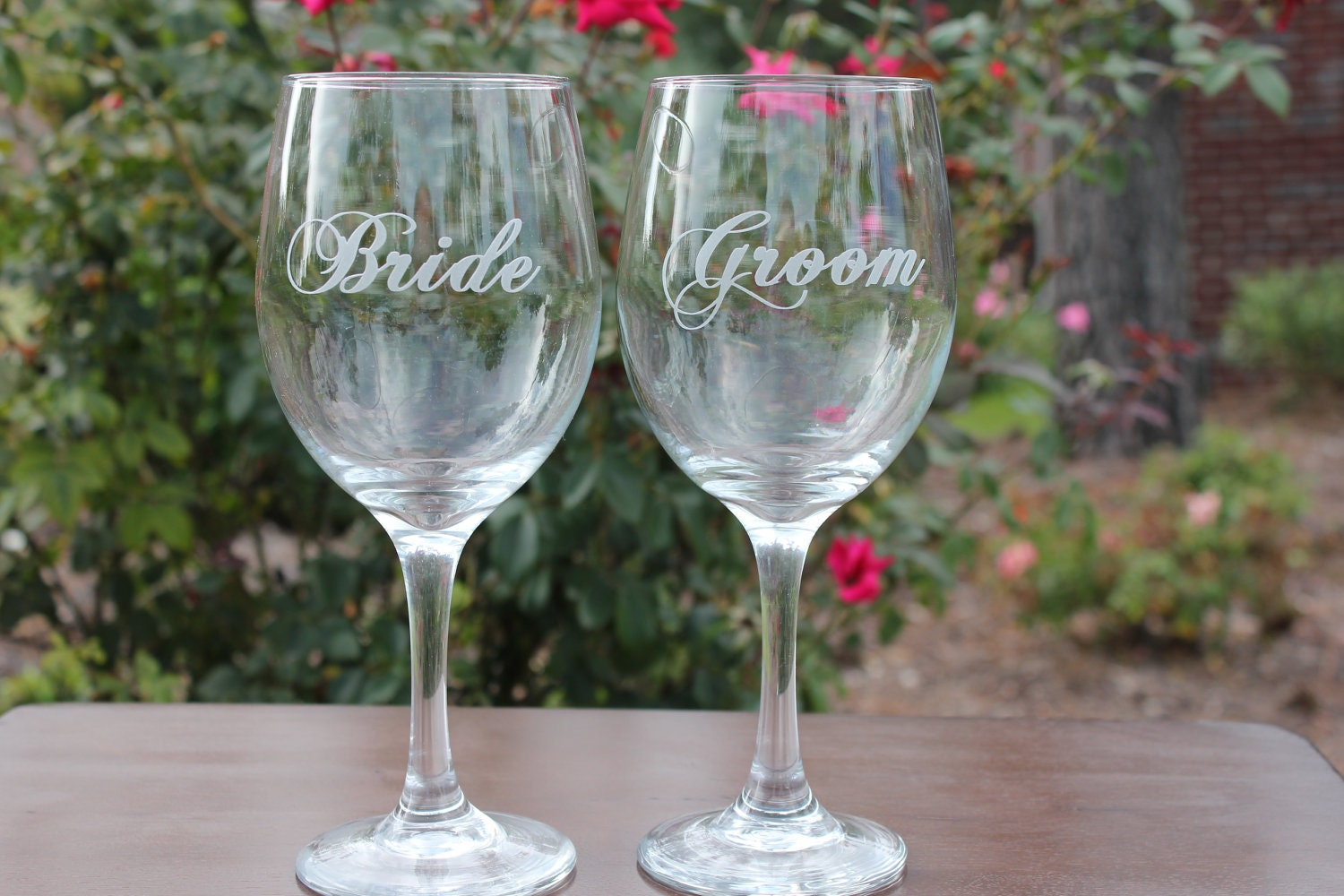 Wine Glasses Wedding Bridal Party Personalized by EngravingByT